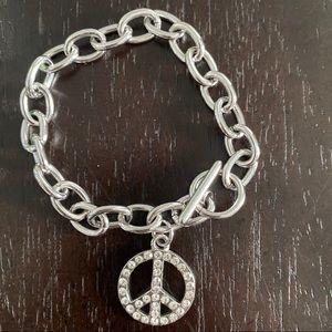 Peace 2020 sign bracelet metal rhinestones